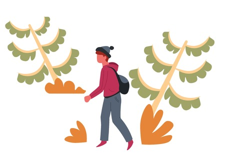 Hiker or backpacker guy in forest traveler or tourist and trees vector man in hat with backpack and wild nature spruces or firs boy with rucksack traveling and tourism active leisure pastime.