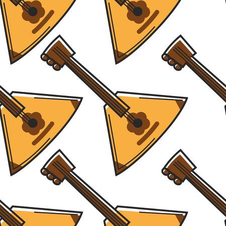 Musical string instrument Russian balalaika seamless pattern music art vector travel to Russia traditions and customs triangular wooden shape endless texture folk genre playing wallpaper print.