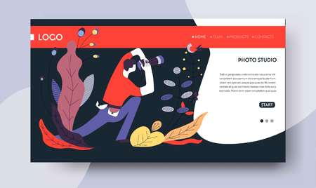 Sessione fotografica ordine studio fotografico online modello di pagina web vettore fotografo servizi foto macchina fotografica sito Internet mockup set fotografico o servizio fotografico arte o hobby video lezioni e lezioni educazione.