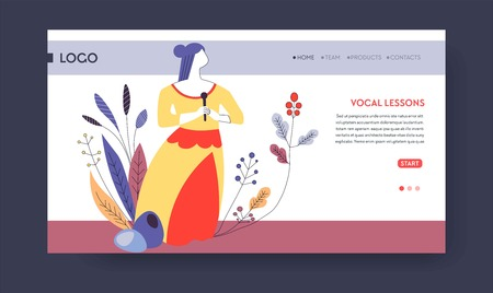 Art school vocal lesson signing up or subscription web page template vector woman singer with microphone singing hobby and skill education online video classes and lessons Internet site mockup.