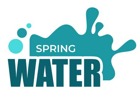 Spring water liquid splash and drops isolated icon