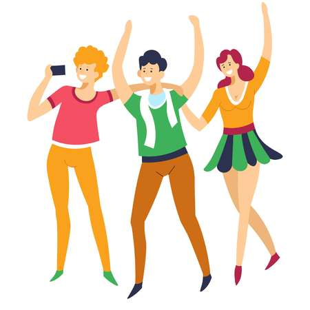 Sport fans men and woman cheering up football team vector isolated group of characters friends in scarf and skirt with smartphone filming game or match buffs or rooters girl and guy with hands up.