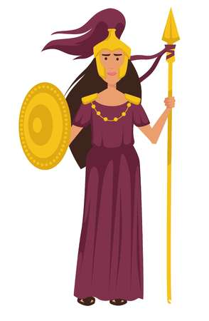 Athena ancient Greek Goddess in gold armor isolated female character Stock Illustratie
