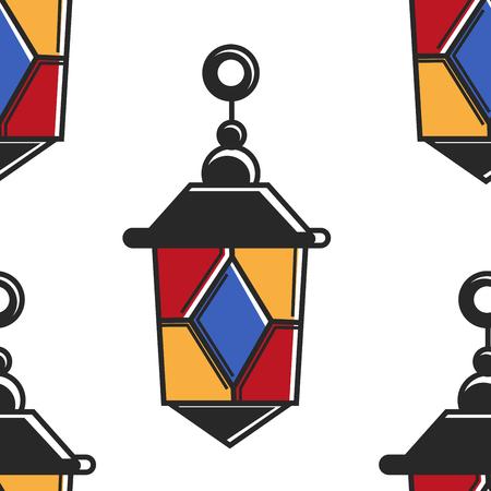Lantern Moroccan symbol seamless pattern lamp of color glass