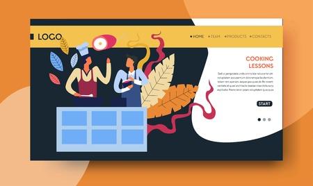 Cooking lessons online video course web page template Vecteurs