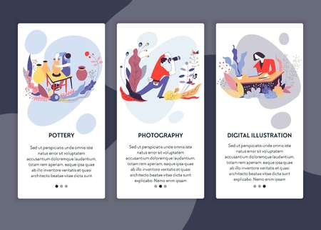 Pottery photography and digital illustration web page template Vectores