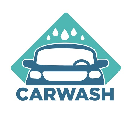 Carwash car cleaning service isolated icon vehicle and water drops Ilustração