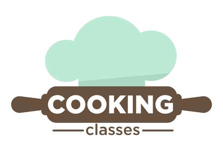 Cooking classes isolated icon rolling pin and chef hat