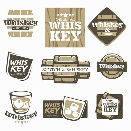 Alcohol bebida whisky y fábrica de producción de whisky o cervecería iconos aislados vector barril y vidrio de madera y emblemas de barra de hielo o logotipo de bebida orgánica de malta única envejecimiento y fermentación casera. Logos