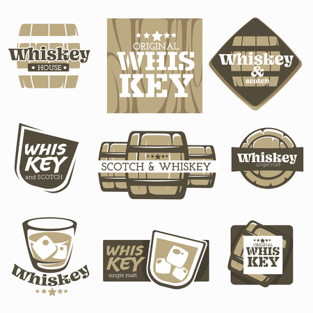 Alcohol drink whiskey and scotch production factory or brewery isolated icons vector barrel and wood glass and ice bar emblems or logo single malt organic beverage aging and fermentation homemade.