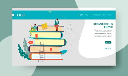 Knowledge power web page template books pile Иллюстрация