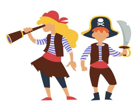 Children in pirates costume kids birthday party or carnival Illustration