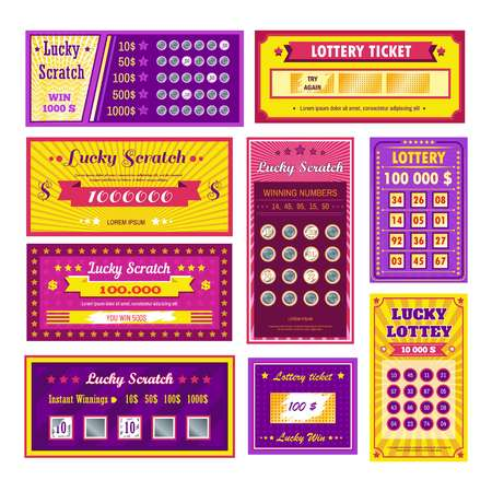 Billetes de lotería lucky scratch bingo apostar y ganar dinero Ilustración de vector