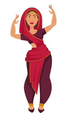 Indian woman in sari dancing tradition and customs of India