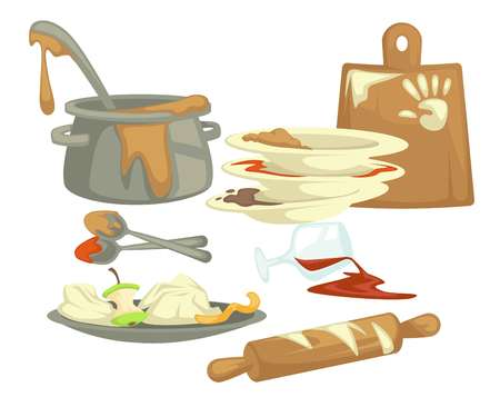 Food remains and dirty dishes and dishware vector fat stains and saucepan cutting board and plates spoons and ladle glass with wine and rolling pin kitchenware isolated objects housework and household. Vector Illustratie