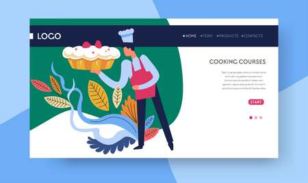 Modèle de page Web en ligne de cours de cuisine de cours de cuisson