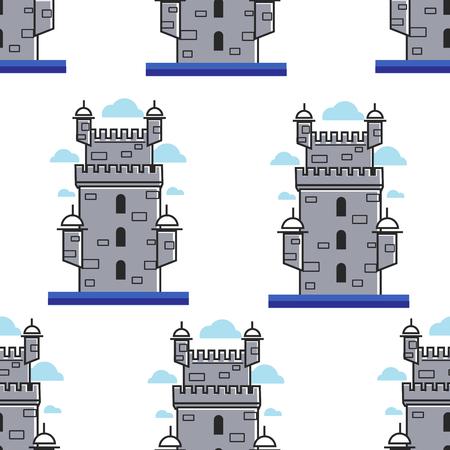 Portugal brick tower architecture and landmark seamless pattern 版權商用圖片 - 122965320