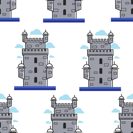 Portugal brick tower architecture and landmark seamless pattern