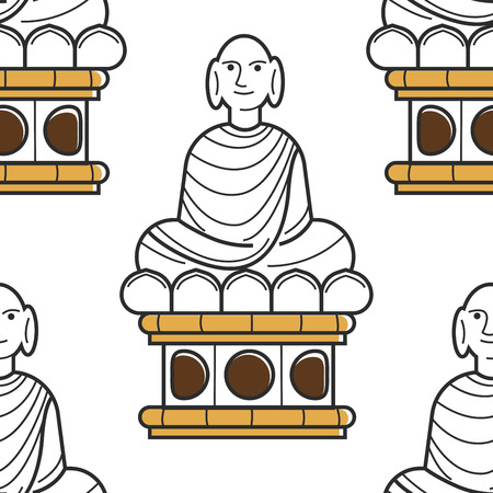 Vietnamese Buddha statue seamless pattern landmark or monument