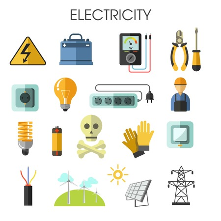 Electricity isolated icons energy generation equipment electrician tools Standard-Bild - 122965427