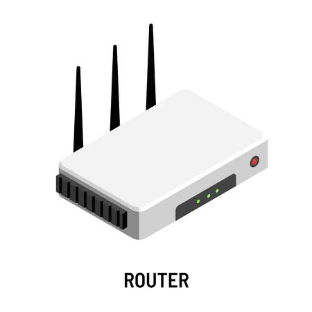 Router WiFi wireless ethernet modem isolated device  イラスト・ベクター素材