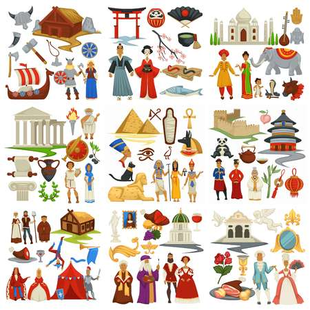 World history and countries culture traveling and exploration epochs Çizim