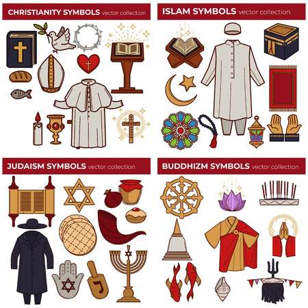 World religions symbols Christianity and Islam Judaism and Buddhism Standard-Bild - 123337015