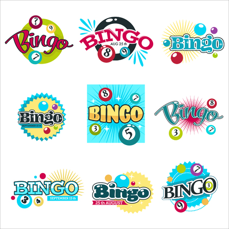 Bingo game isolated icons gambling equipment balls with numbers