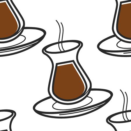 Tradition trinken Türkische Teevase auf Platte nahtlose Muster Vektor schwarz Art gebraut in Glaswaren endlose Textur heißes dampfendes Getränk Türkei benutzerdefinierte reisende Tapete drucken nationale Küche.