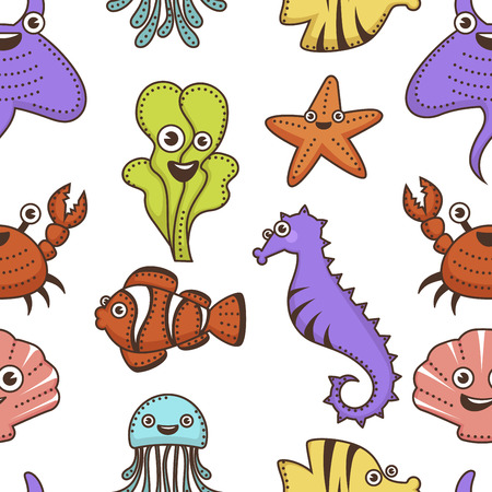Underwater animals and plants cartoon characters seamless pattern Illustration
