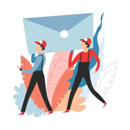 Deliverers carrying message delivery service mail or post vector men in overalls and cap postage envelope correspondence shipment and transportation messaging and texting postman or deliveryman.