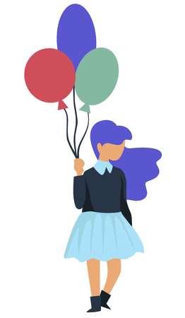 Childish Birthday party girl with balloons holiday celebration Иллюстрация
