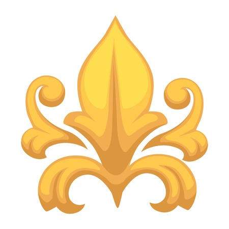 Gold Baroque decor floristic gold element isolated object Illustration