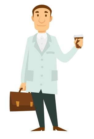Medicine worker doctor with briefcase and takeaway coffee cup