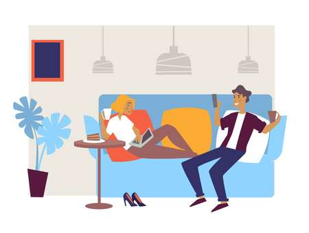 Lounge bar or cafe interior design friends or couple on couch Illustration