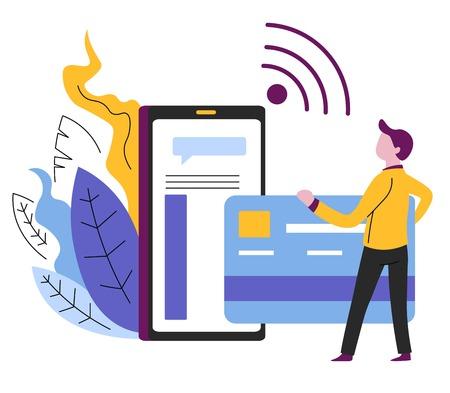 Online shopping credit card payment mobile app Illustration