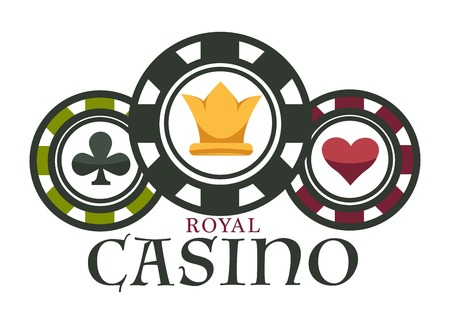 Casino royal club isolated icon poker chips gambling game Illustration