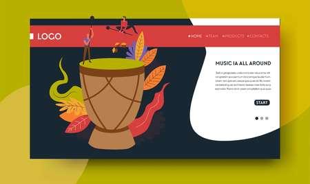 Tom tom drum folk music concert online tickets ordering Illustration