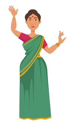 Nationality Indian woman in sari dancing tradition and customs of India vector isolated female character in dress and bracelets aboriginal girl with dot on forehead showing dance move national costume.
