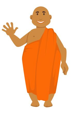 Bald man waving hand Indian monk in orange robe vector isolated male character Buddhism religion travel to India spirituality and culture faith and belief fat barefoot guy saint person and zen.