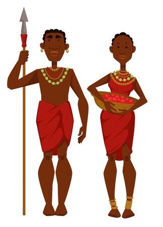 Membres de la tribu, homme de famille africain, guerrier avec lance et femme avec vecteur de récolte de fruits, appartenance ethnique masculine et féminine ou nationalité, chasseur de mari et femme au foyer voyageant en Afrique.