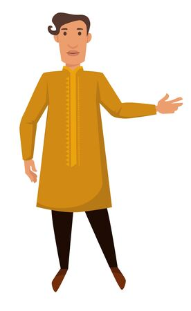 Nationality Indian young man in traditional clothing isolated male character vector guy in long shirt with ornament and pants national costume ethnicity traveling and tourism aborigine travel to India.