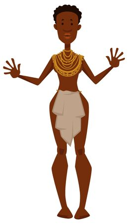 Tribe member African woman naked in loincloth ethnicity or nationality vector isolated female character with jewelry or necklaces travel to Africa exotic culture and wildlife safari native or aborigine.