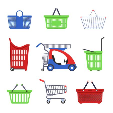 Shopping trolleys supermarket carts and baskets vector isolated objects shop container for products collecting heavy goods and small purchases children mini car porters on wheels or with handles.