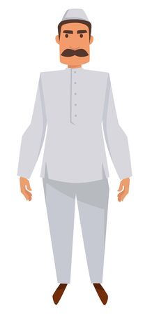 Nationality Indian man with mustache in traditional clothing and hat isolated male character vector shirt and pants tradition and custom ethnicity traveling and tourism aborigine travel to India.