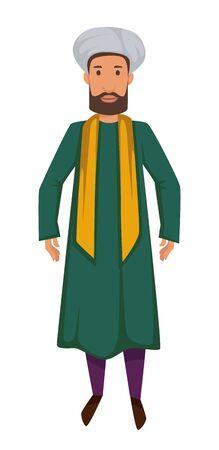 Asiatische Nationalität Indischer Mann in traditioneller Kleidung Turban und Schal isoliert männlicher Charakter Vektor Kerl im langen Mantel mit Bart Reisen Aborigine Reisen nach Indien ethnische traditionelle Kleidung.