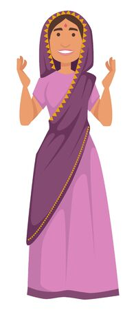 Nationality Indian woman in sari tradition and customs of India vector isolated female character in shawl and dress aboriginal girl with dot on forehead traveling and tourism national costume. Ilustrace