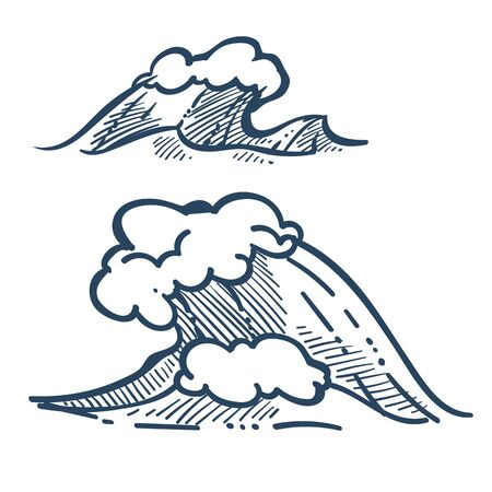 Sea wave or ocean storm isolated sketches vector beach tide or splash with foam marine or nautical symbol drawing traveling or voyage sailing or surfing seascape wild nature foamy water surface.