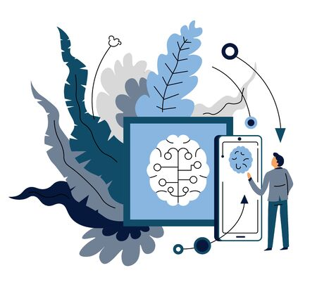 Artificial intelligence device synchronization mobile app and user vector pad or tablet and smartphone connection and data exchange digital assistant smart service and automatization brain symbol. Ilustrace