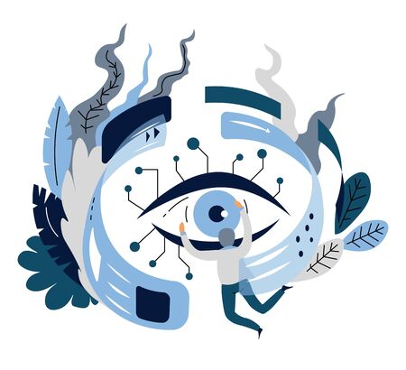 Digital or cyber technology eye and open web pages artificial intelligence vector eyeball and Internet surfing assistant intellectual search and ai innovation technology scientist or programmer.
